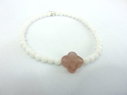 Bracelet en Jade blanc trèfle en Quartz