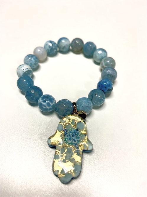 Bracelet en Agate bleue azur