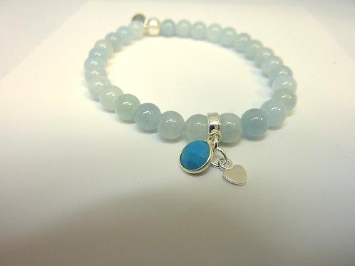 Bracelet en Aigue-marine breloques turquoise et coeur