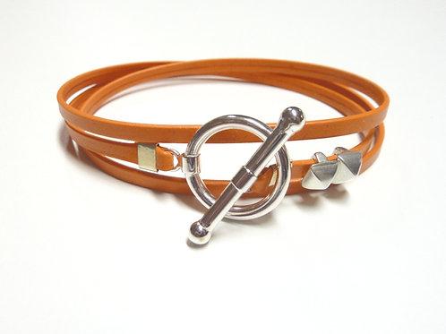Bracelet ruban cuir orange 2 pins