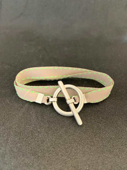 Bracelet ruban surpiqûre beige