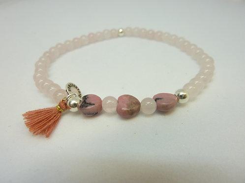 Bracelet en Quartz rose et Rhodonite