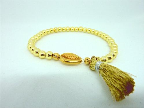 Bracelet en Hématite coquillage Cauri avec un pompon