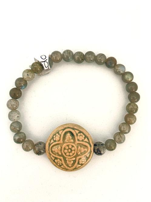 """Bracelet en Labradorite """"Celtic Cross"""""""