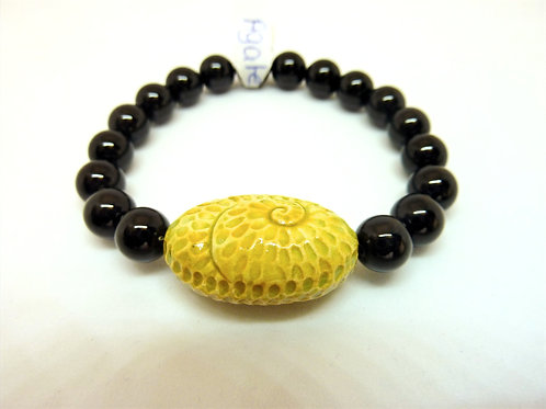 "Bracelet en Agate noire Collection Clay ""Spiral Oval"""