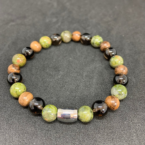 "Bracelet en Unakite, Quartz et bois Collection ""BIG"""