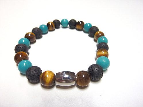 """Bracelet  en Oeil de Tigre, Lave et Howlite turquoise Collection """"BIG"""""""