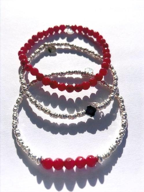 TRIO Bracelets en Argent 925 et Corindon (Rubis traité)