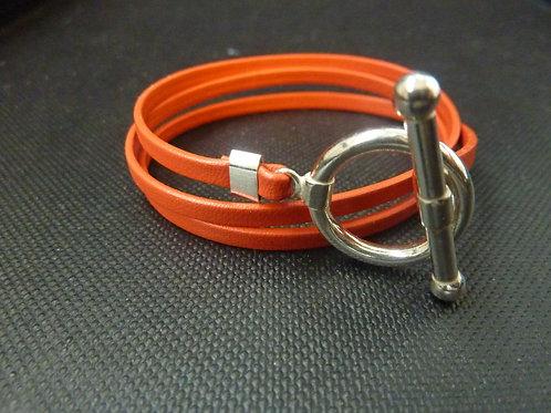 Bracelet ruban cuir orange