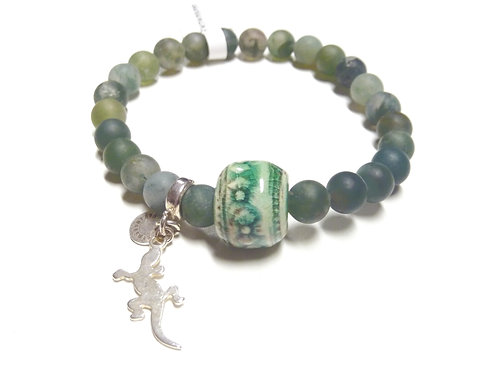 Bracelet en Agate mousse Gecko Collection Clay