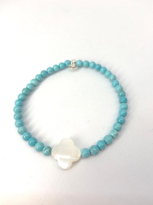 Bracelet en Turquoise trèfle en nacre