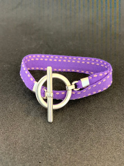 Bracelet ruban surpiqûre mauve