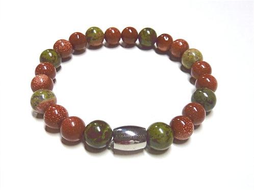 """Bracelet en Unakite et Gold Stone Collection """"BIG"""""""