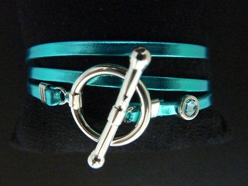 Bracelet ruban cuir turquoise brilant