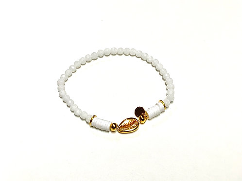 Bracelet en Jade teinté blanc coquillage Cauri