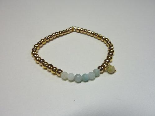 Bracelet en Hématite dorée et Amazonite