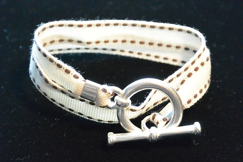 Bracelet ruban surpiqûre écru