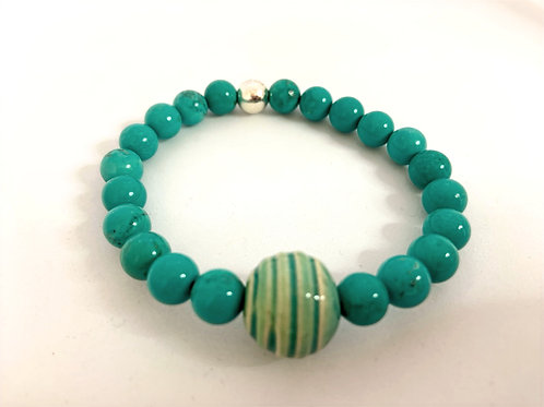 Bracelet en Howlite turquoise Collection Clay