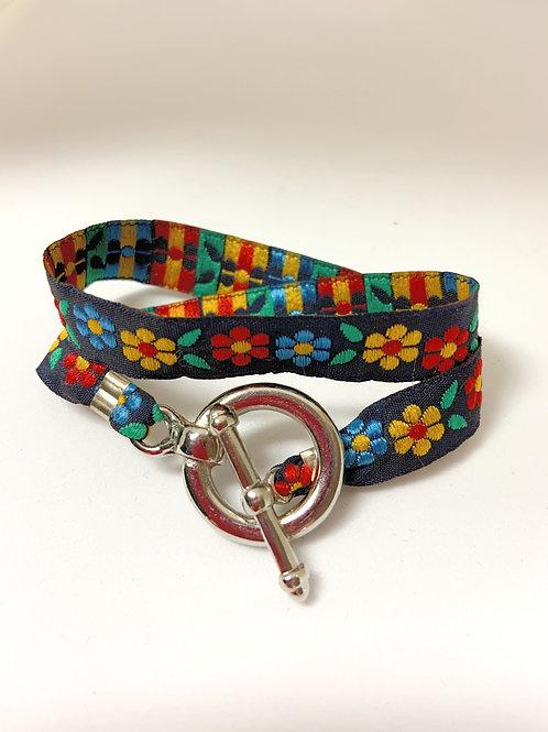 Bracelet ruban fleuri
