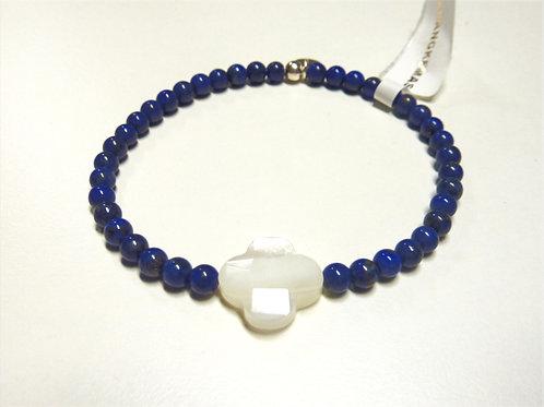 Bracelet en Lapis Lazuli trèfle en nacre