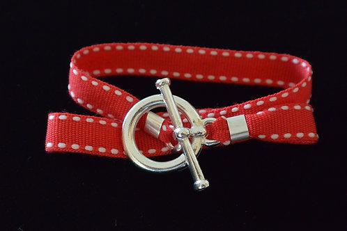 Bracelet ruban surpiqûre rouge