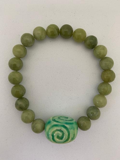 "Bracelet en Jade Collection Clay ""Rectangle Spiral"""