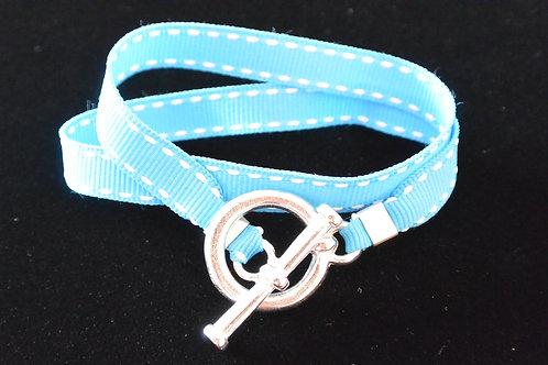 Bracelet ruban surpiqûre bleu turquoise