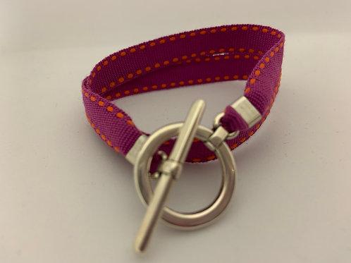 Bracelet ruban surpiqûre fushia