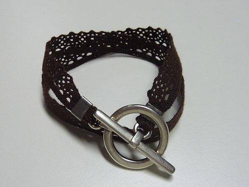 Bracelet ruban dentelle chocolat
