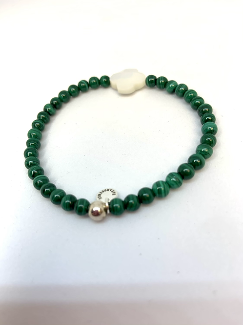 Bracelet en Malachite trèfle en nacre