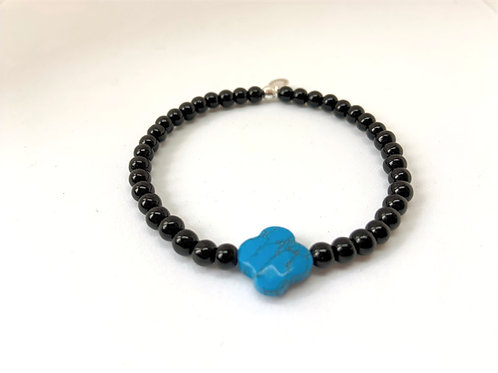 Bracelet en Onyx trèfle turquoise