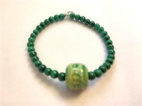 "Bracelet en Malachite Collection Clay ""Round"""