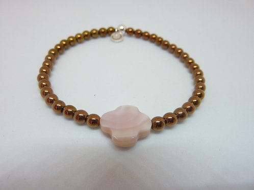 Bracelet en hématite cuivrée trèfle nacre