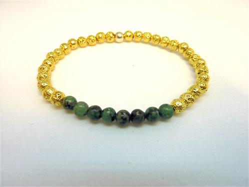 Bracelet en lave dorée et turquoise africaine