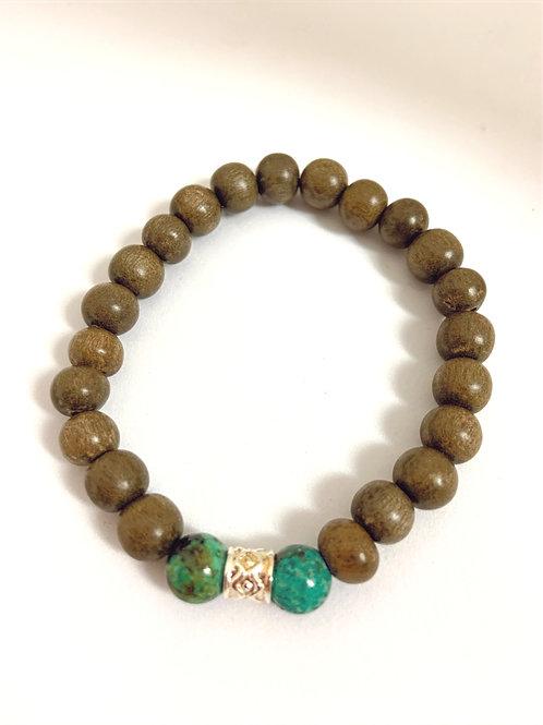 Bracelet en bois et 2 perles en turquoise