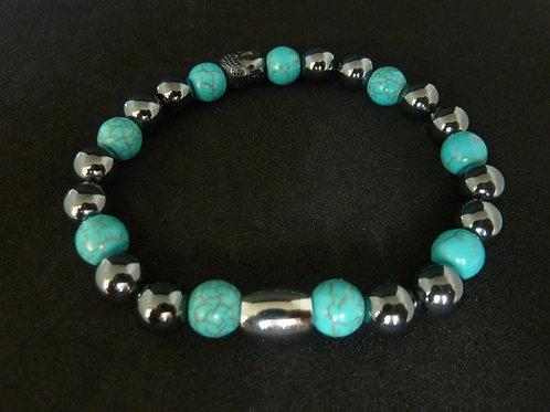 """Bracelet en hématite et howlite turquoise Collection """"BIG"""""""