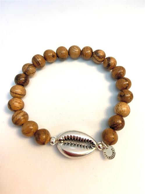 Bracelet en bois d'encens  - Coquillage Cauri