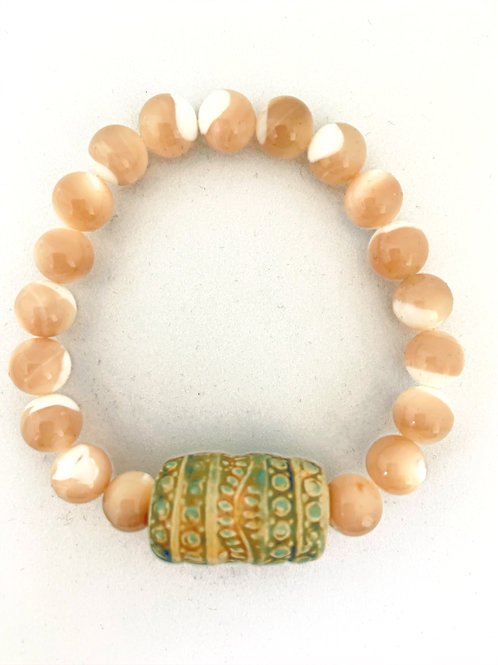 "Bracelet en nacre Collection Clay ""Khmer Barel"""