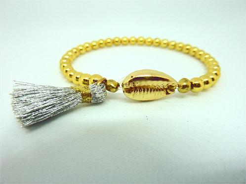 Bracelet coquillage Cauri & pompon argenté
