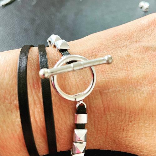 Bracelet ruban cuir noir 2 pins