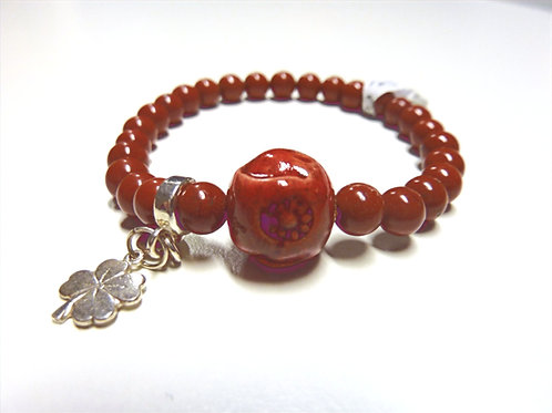 "Bracelet en Jaspe rouge Collection Clay ""Rondes"""