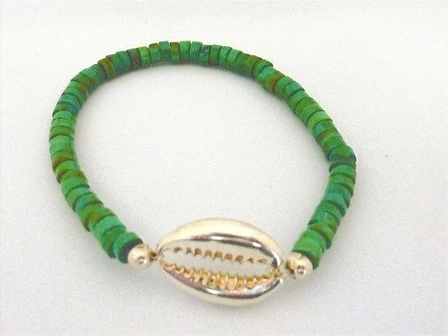 Bracelet en Turquoise coquillage Cauri argent