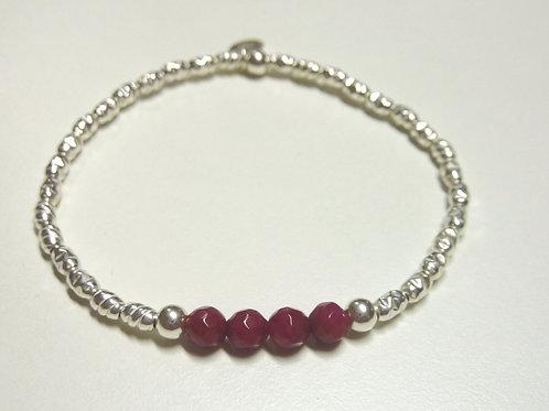 Bracelet en Argent 925 et Corindon (Rubis traité)