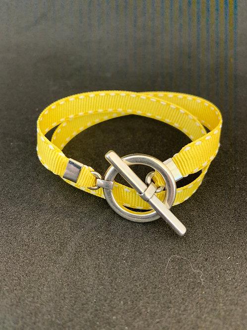 Bracelet ruban surpiqûre jaune
