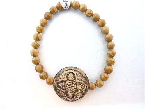 """Bracelet en Agate Coffee """"Celtic Cross"""""""