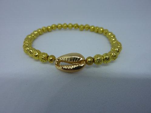 Bracelets en lave dorée coquillages Cauri