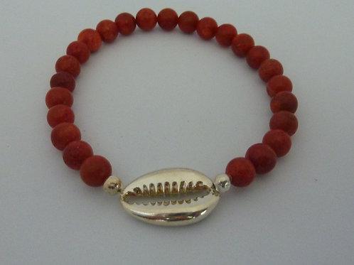 Bracelet Bamboo tienté rouge coquillage Cauri
