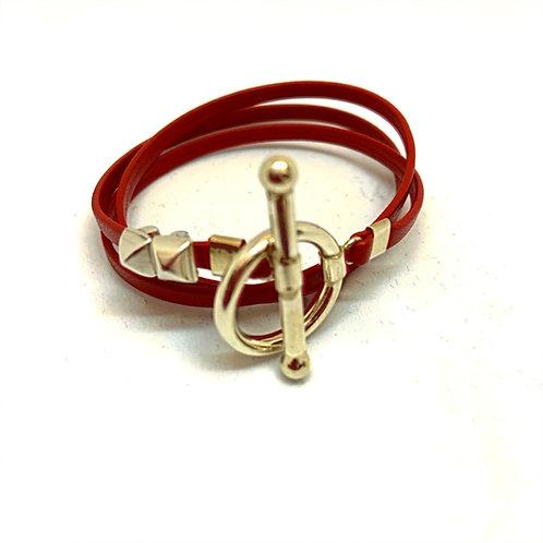 Bracelet ruban cuir rouge 2 pins