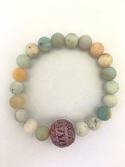 """Bracelet en Amazonite givrée Collection Clay """"Rondes"""""""