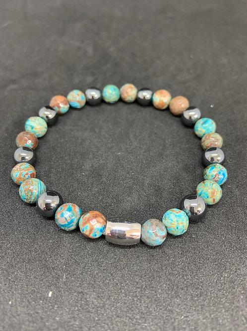 "Bracelet en Agate Indonésie et Hématite Collection ""BIG"""